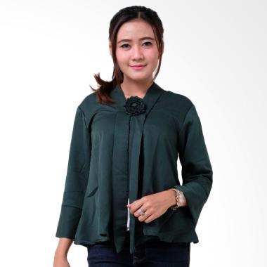 Batik Distro BA9202 Encim Polosan Kebaya Wanita - Hijau