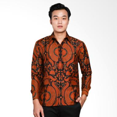 AWANA Bayanaka Modern Slim Fit Kemeja Batik Pria - Coklat