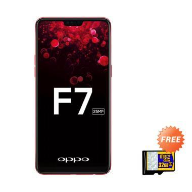 OPPO F7 Pro Smartphone - Red [128GB/ 6GB] + Free MMc 32 GB