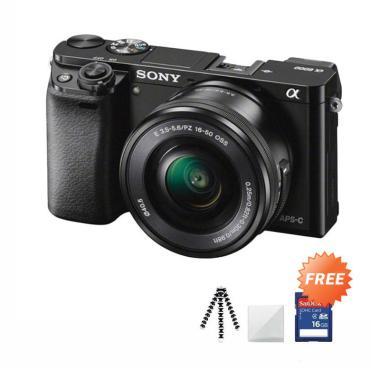 SONY Alpha A6000L Kit Lens 16-50mm Kamera Mirrorless + Free Screenguard + SDHC 16GB + Gorillapod