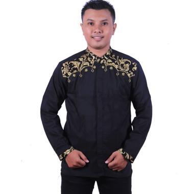 King Projo Batik Kombinasi Bakung Bordir Baju Koko Pria Hitam