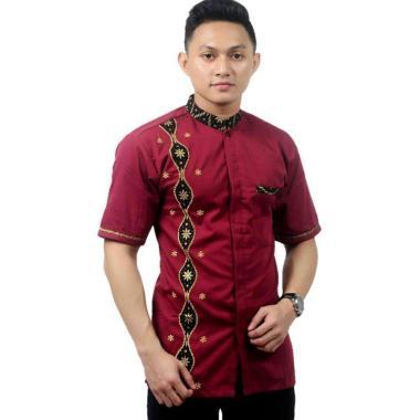 Batik Prass Kombinasi Modern Kemeja Koko Lengan Pendek Pria