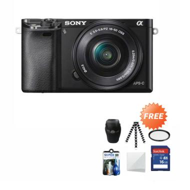 harga Sony Alpha A6000L Kit Lens 16-50mm Kamera Mirrorless + Free Screenguard Terpasang + SDHC 16GB + Tas Universal + Gorillapod + Filter + Cleaning Kit Blibli.com
