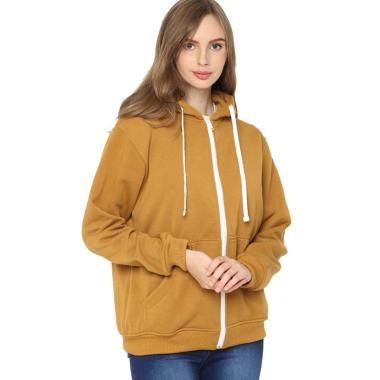 Hoodieku Zipper Basic Jacket Wanita - Mustard