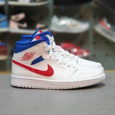 harga NIKE Air Jordan 1 Mid White USA Sepatu Sneakers Blibli.com