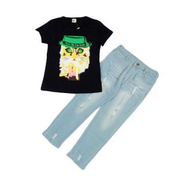 MEE Face Cat Black with Pants Jeans Set Setelan Anak Perempuan