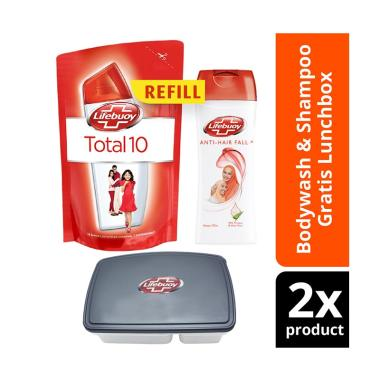 Paket Lifebuoy Shampoo Anti Hairfall 170 mL dan Sabun Cair Total 10 450 mL  + Free Kotak Makan a39aea61d6