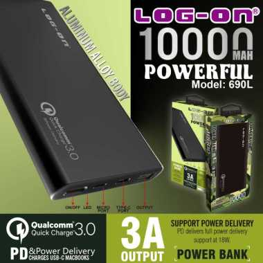 harga Powerbank 690L Quick Charge 3.0+PD 18W 10.000Mah LOG-ON Blibli.com