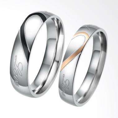 CDHJewelry CC003 Cincin Couple Titanium Anti Karat [Female 7 & Male 7]