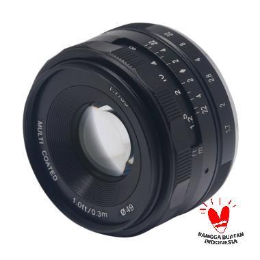 KameraKamera Meike 35mm F1.7 Lens for Fujifilm X Mount Mirrorless Camera + Pouch + Soft Cloth for X-T10 X-T20 X-A2 X-A3 X-A5 X-E1 X30 Garansi 1th Hitam