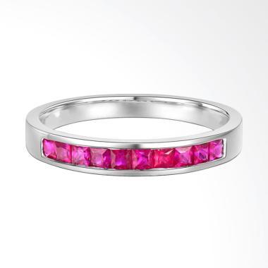Tiaria Ten Ruby Ring Emas Putih Cincin Wanita [18K]