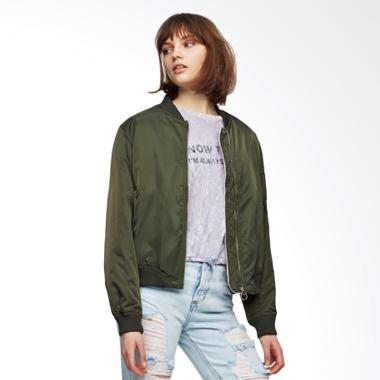 Pull and Bear Bomber Jacket Wanita - Green