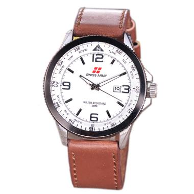 Swiss Army Leather Body Silver Whit ... a - Brown SA-5695G-SB-TGL