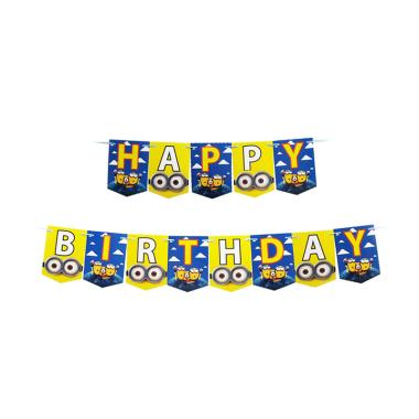 Balonasia Motif Minion Happy Birthday Banner Flag Dekorasi Pesta