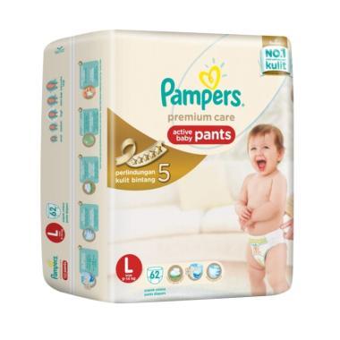 Pampers Premium Active Baby Pants Popok Bayi [Size L/62 Pcs]
