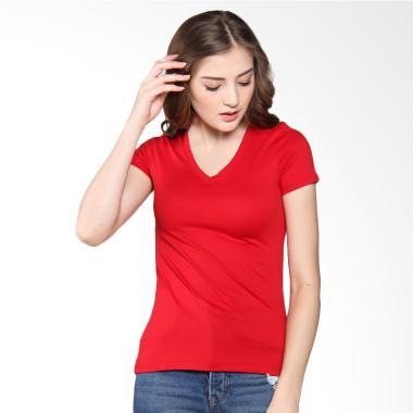 Giordano V-neck Jersey tee Ribbon Atasan Wanita - Red