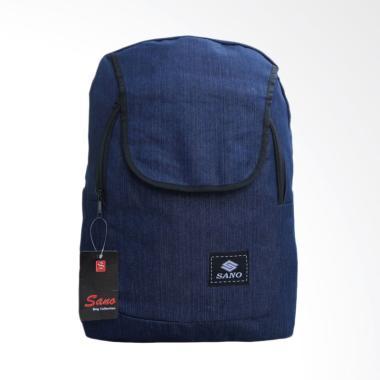 SANO Backpack Tas Ransel Distro Pri ... h Kerja Gaul Denim - Navy