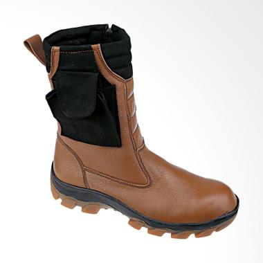 Syaqinah Safety Kulit Asli Sepatu Boots Pria - Coklat [244]