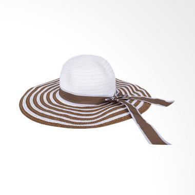 Elfs Shop Beach Hat Girl Big White  ... antai Wanita - Coklat Tua