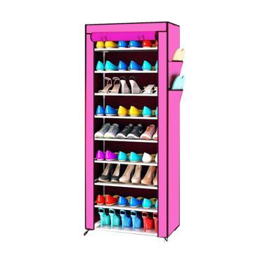 Kobucca Shop Kain Dust Cover Rak Sepatu - Pink [10 Susun]