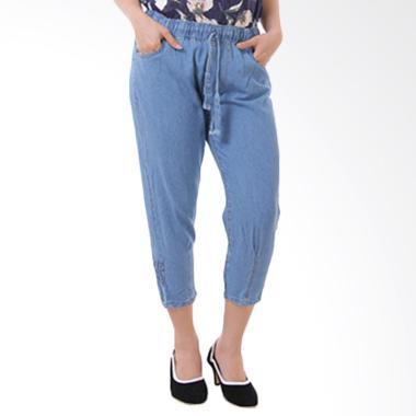 JSK Jeans JSK7732 Pinggang dan Kaki ... Celana Wanita - Biru muda