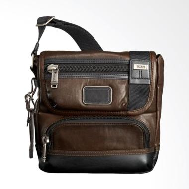 TUMI Alpha Bravo Barstow Leather Cr ... lempang Pria - Dark Brown