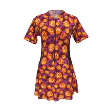 Rainy Collections Motif Bunga Baju Renang Diving Rok Dewasa - Orange