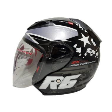 NHK R6 Pixel Helm Half Face - Black Silver