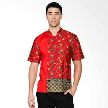 Chef Series Jade Batik Tangan Pendek Baju Koki - Merah [Size S]