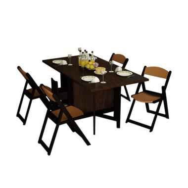 Funkids Meja Makan Lipat & 4 Kursi Lipat Folde Dining Sets - Brown