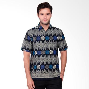 Batik Heritage Royal Peach Ulos Slim Fit Kemeja Batik Pria - Biru