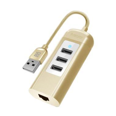 Remax Ru-U4 Lan Adapter with 3 Ports USB Hub - Gold