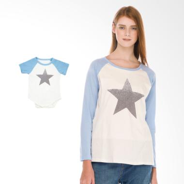 Mooimom Star Long Sleeve T-shirt Se ... an Menyusui Couple - Blue