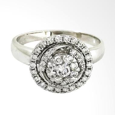 Lavish R15578 Cincin Berlian Eropa Emas Putih [18K]