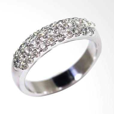 Lavish R17652 Cincin Berlian Eropa Premium Emas Putih [18 K]