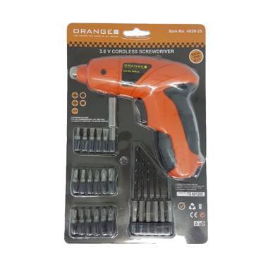 Orange Baterai Cordless Obeng Drill Mesin Bor Portable