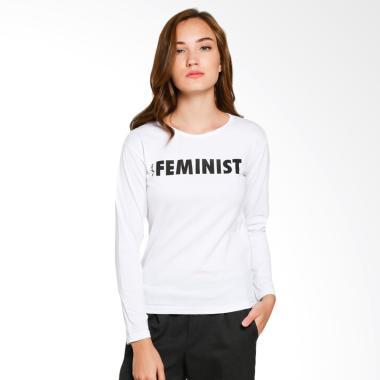JCLOTHES Kaos Lengan Panjang Wanita Feminist - Putih