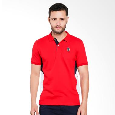 Giordano Union Jack Embroidery Polo Shirt Pria - Red [0101732286]