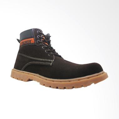 Cut Engineer High Top Safety Sepatu Boot Pria - Brown