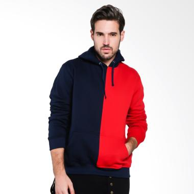Papercut Men Fox Two Tone Hoodie Jacket Pria - Red Navy