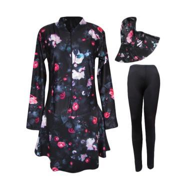 Rainy Collections Jumbo Motif Mawar Baju Renang Muslim - Pink