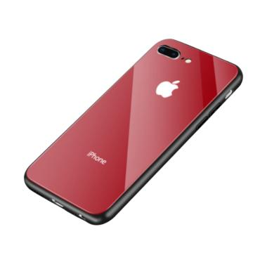 OEM Glass Luxury Casing for iPhone 8 Plus - Merah