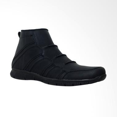 D-Island Shoes Slip On Fold Office Sepatu Boot Pria - Black