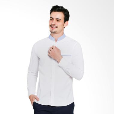 VM Mandarin Collar Slimfit Kemeja Casual Pria - Putih