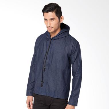 Alphawear Denim Jaket Hoodie Pria - Blue
