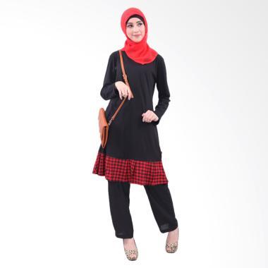 Qirani Mawar 23 Atasan Baju Muslim Wanita - Hitam
