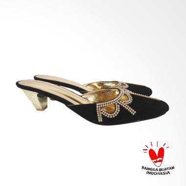 Zorita Shoes Selop Bling-bling Lancip Sandal Heels Wanita - Hitam
