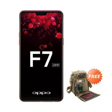 OPPO F7 Smartphone - Red [64 GB/RAM 4 GB] + Free Tas Slempang