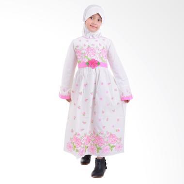 Jesca and Paul Qinaya 207 Gamis Baju Muslim Anak - White