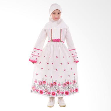 Jesca and Paul Kayla 219 Gamis Baju Muslim Anak - White